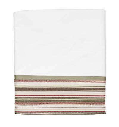 Vintage Retro White Cotton Percale Flat Sheet with Khaki and Red French Stripe Cuff and Sage Green Gros Grain