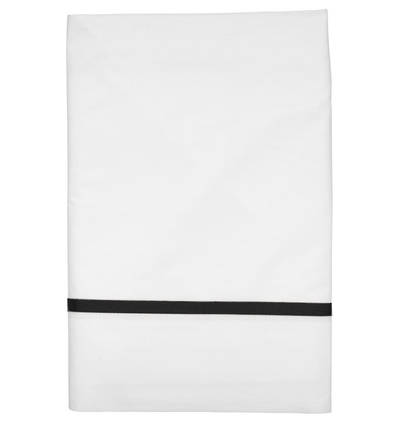 Gorgi White Cotton Percale Flat Sheet with Black Gros Grain