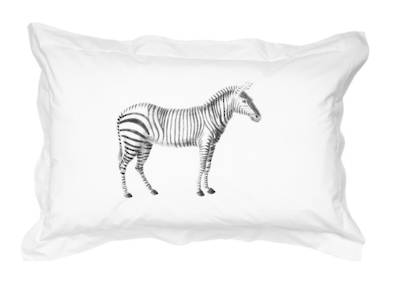 Gorgi 100% White Cotton Oxford Pillowcase with Vintage Inspired Zebra Print