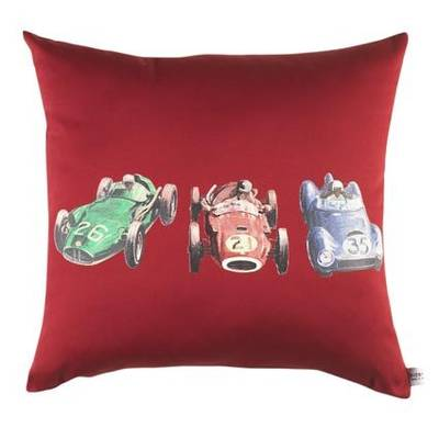 Vintage Retro Cushion with Retro Racing Car Print on Scarlet Drill