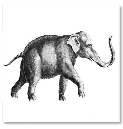 Vintage Inspired Elephant Art Block