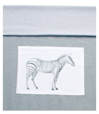 Gorgi Wool Cot Blanket/Duvet Cover with Zebra Print and Pinstripe Reverse