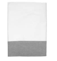 Gorgi White Cotton Percale Flat Sheet with White with Black Pinstripe Cuff