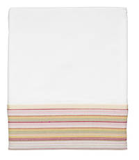 Vintage Retro White Cotton Percale Flat Sheet with Pink and Lime French Stripe Cuff and Beige Gros Grain