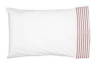 Gorgi Madder Red White with Scarlet Ticking Stripe Cuffed Pillowcase