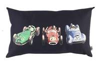 Vintage Retro Cushion with Retro Racing Car Print on Navy Drill