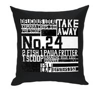 Gorgi In The News Art Cushion by Nikki Apse: Black Drill with White Print