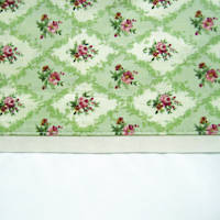 Vintage Pattern Sage Cuff with Beige Gros Grain Cot Flat Sheet