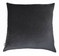 Gorgi Velvet Cushion in Charcoal with Charcoal Linen Backing