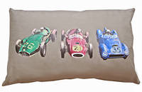 Vintage Retro Cushion with Retro Racing Car Print on Latte Drill