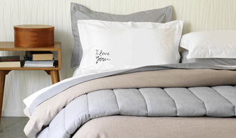Gorgi Old World Linen, Pinstripe Quilt and Love Notes Pillowcases