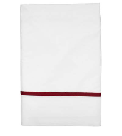 Gorgi White Cotton Percale Flat Sheet with Scarlet Gros Grain
