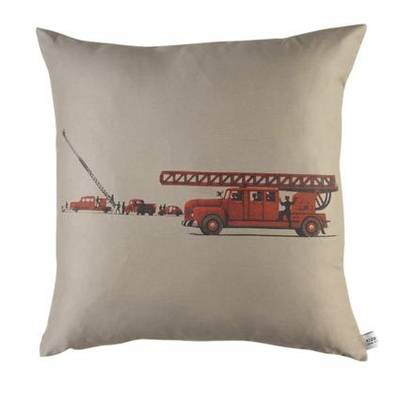 Vintage Retro Cushion with Retro Fire Engine on Latte Drill