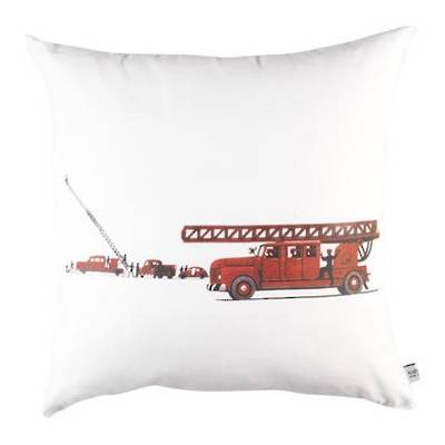 Vintage Retro Cushion with Retro Fire Engine on White Drill