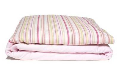 Vintage Retro Pink Cotton Drill with Pink and Lime French Stripe Duvet Set