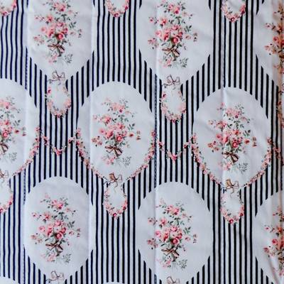 Fabric Swatch French Black Stripes and Flowers Cotton Print