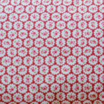 Fabric Swatch Sweet Raspberries Vintage Lace Cotton Print