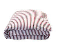 Madder Red Scarlet Ticking Stripe Duvet Cover Set