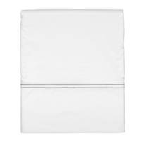 Gorgi White Cotton Percale Flat Sheet with Black Saddle Stitch Detail