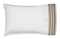 Vintage Retro White Cotton Percale Standard Pillowcase with Khaki and Red French Stripe Cuff and Sage Gros Grain