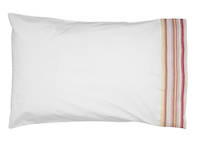 Vintage Retro White Cotton Percale Standard Pillowcase with Pink and Lime French Stripe Cuff and Beige Gros Grain