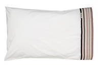 Vintage Retro White Cotton Percale Standard Pillowcase with Red and Navy French Stripe Cuff and Dark Navy Gros Grain