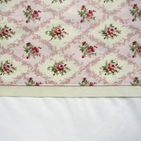 Gorgi White Cotton Percale Flat Sheet with Pink Vintage Pattern Cuff and Beige Gros Grain