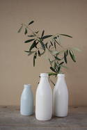Handmade Ceramic Milk Bottle Vase: Small